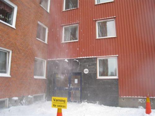 Fallande snöblock