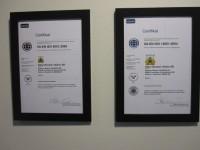 Certifikat för ISO 9001:2008 och14001:2004