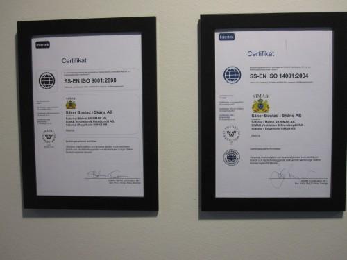 Certifikat för ISO 9001:2008 och 14001:2004